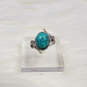 Jewelry - Silver Plated Turquoise Feather Ring